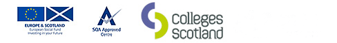 Logos for European Social Fund, SQA Approved Center and Colleges Scotland